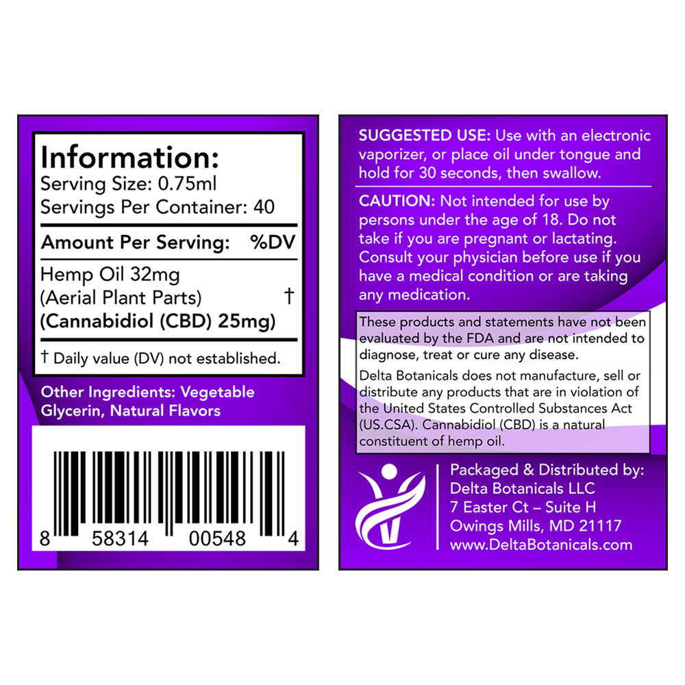 Peppermint CBD E Liquid - 1000mg CBD | 30ml Vape Oil