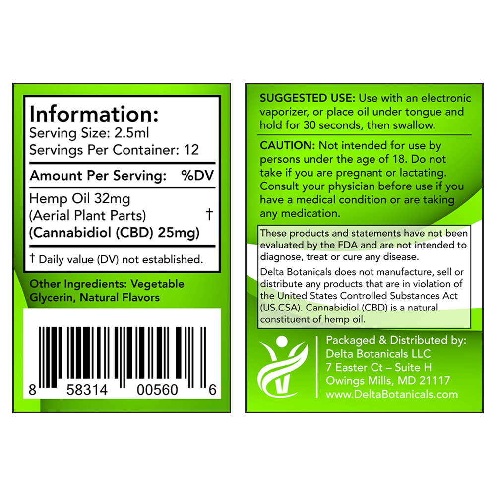 Peppermint CBD E Liquid - 300mg CBD   30ml Vape Oil