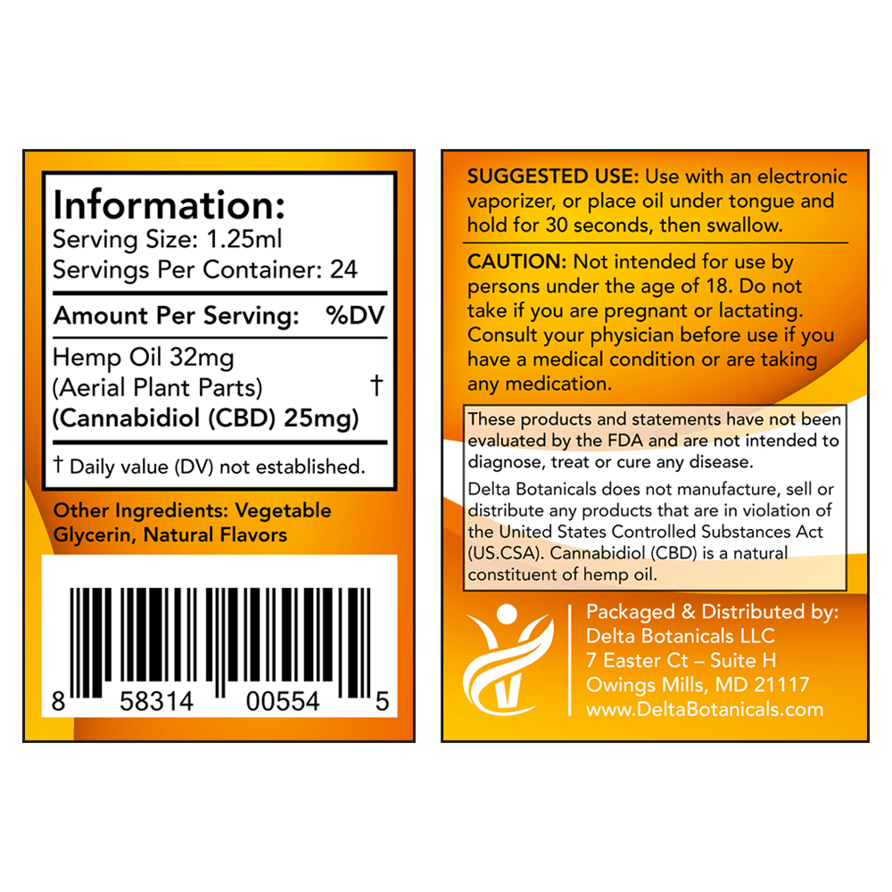 Peppermint CBD E Liquid - 600mg CBD   30ml Vape Oil