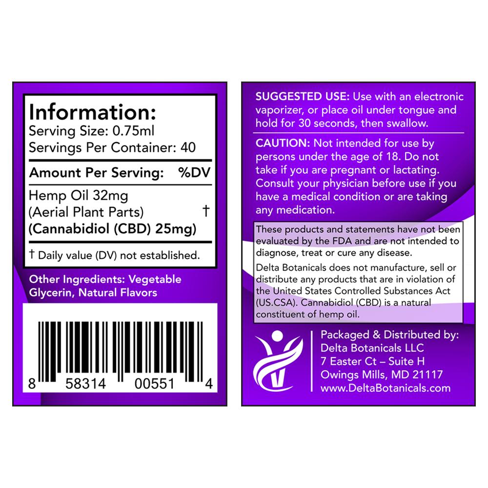 Vanilla Cream CBD E Liquid - 1000mg CBD   30ml Vape Oil
