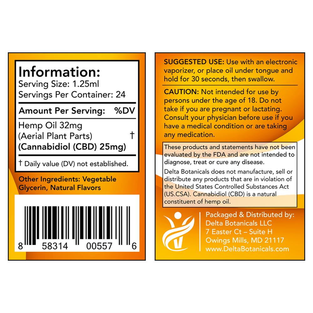 Vanilla Cream CBD E Liquid - 600mg CBD | 30ml Vape Oil